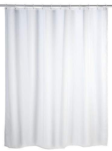 Wenko Duschvorhang Uni weiß, Textil-Vorhang fürs Badezimmer, mit Ringen zur Befestigung an der Duschstange, waschbar, wasserabweisend, 180 x 200 cm