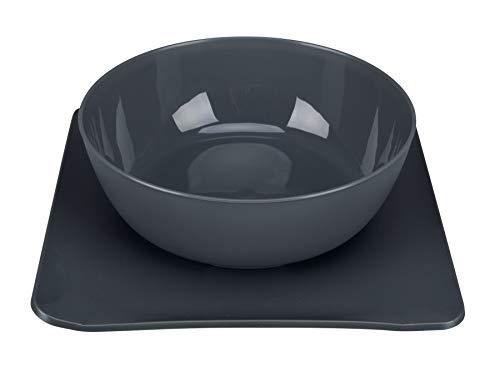 Yummynator 07991 Rutschfeste Matte Mit Futternapf | BPA Frei | Tiernapf-System: Vereint Napf und Platzmatte | Futternapf für Katze oder Hund | Futternapf mit Unterlage | Grau / Grau | Large