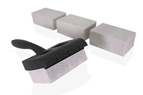 Tamwell 4 Grill Griddle Pumice Stone Cleaning Bricks Complete with Handle Suitable for BBQ Kitchen and Household Cleaning