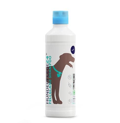 Hundepflege24 - Hundeshampoo Fellglanz 500ml mit Aloe Vera für gesund glänzendes Fell inkl. pflegendem Conditioner für leichte Kämmbarkeit - Hunde Shampoo Fellpflege mit frischem Lemongras Duft
