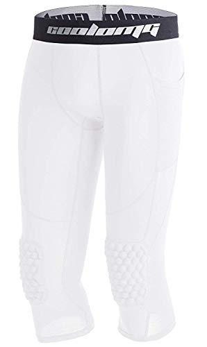 Coolomg Pantalones de baloncesto con rodilleras para niños, medias de compresión 3/4, mallas acolchadas, pantalones capri, Niños, Blanco, L (für 12 Jährige)