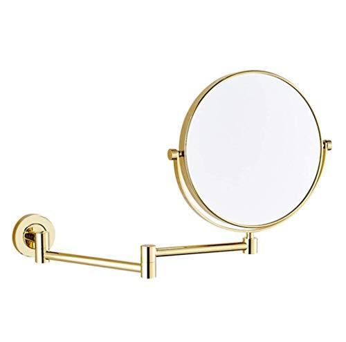 BYCDD Miroir Maquillage grossissant Mural, Miroir de Maquillage pour Douche, lavabo Pliant, Miroir grossissant 3 Fois,Gold_6 inch