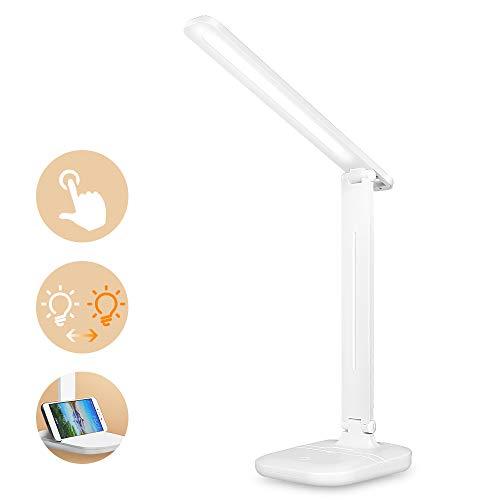 LED Schreibtischlampe, Schreibtischlampe LED Tischleuchte USB-Ladeanschluss, 3 Farb Dimmbar Tischleuchte mit Touchbedienung, Tragbar, Augenschutz für Büro, Lesen