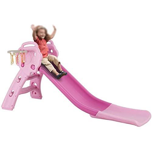 TIZJ Tobogán Plegable para Niños 3 En 1 con Aro De Baloncesto Parque Infantil Resistente Escalador De Tobogán Deslizante para Interior Al Aire Libre Juego Al Aire Libre Rosa (Color : Pink)