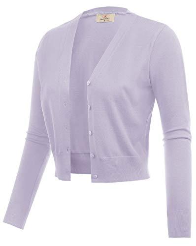 GRACE KARIN Women Cropped Bolero Shrug Jacket for Evening Dress Light Purple Size L CL2000-27