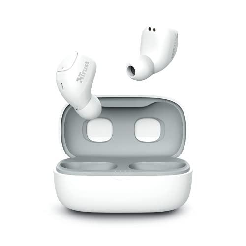 Trust Mobile Nika Compact Écouteurs Bluetooth sans Fil avec Coque de Charge (True Wireless, Micro intégré, jusqu'à 18h d'utilisation) - Blanc