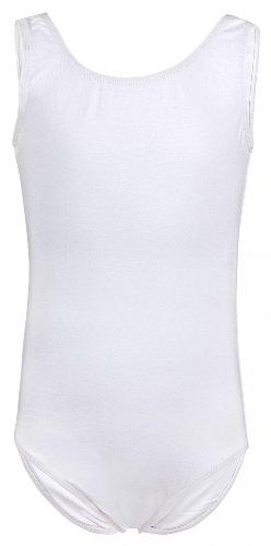 tanzmuster ® Ballettanzug Mädchen ärmellos - Lissy - (Größe 92-170) aus weicher, atmungsaktiver Baumwolle Ballett Trikot Ballettbody in weiß, Größe 140/146