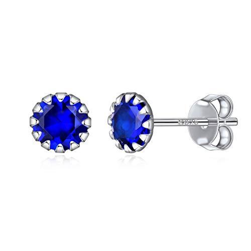Septiembre Pendientes Decorativo Piedras de 12 Meses Joyería de Plata de Ley 925 para Mujer Diamantes de Nacimiento Zafiro Azul Oscuro