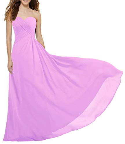 ANTS Women's Strapless Long Bridesmaid Dresses Chiffon Wedding Prom Gown Size 8 US Pink