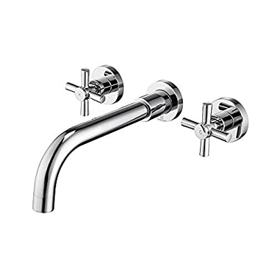 HOMELODY Bathroom Faucet Chrome, Wall Mounted Two Handle Vanity Faucet Solid Brass Basin Mixer Faucet and Rough in Valve Included