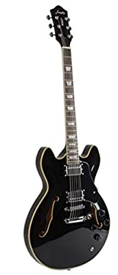 Firefly Full Size Hollow body Electric Guitar with Cable and Picks (Black)