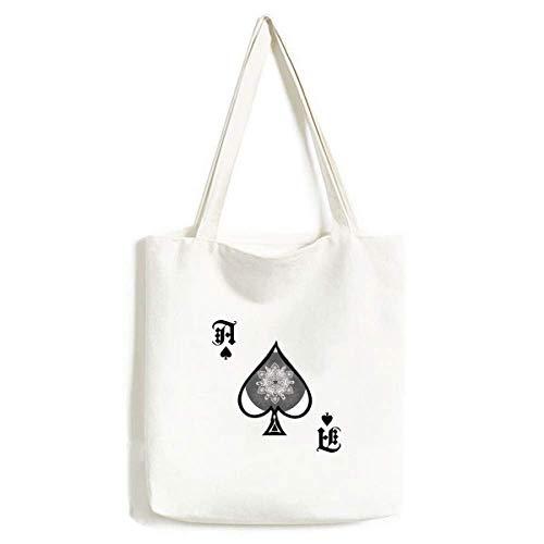 Bolsa de Mano de Estilo árabe con diseño de Pala de póquer, Color Blanco y Negro