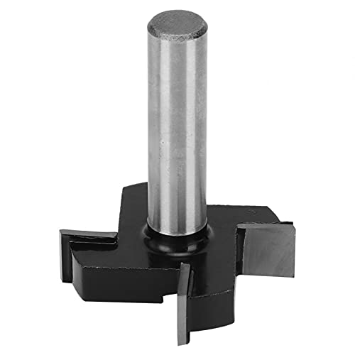 T-Type Professional 4 Wings Spoilboard Surfacing Router Bit 1/2 inch Shank for Woods Steel(Four Blade T Black 12 * 1/2)