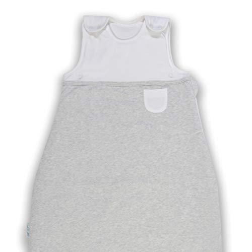 VABY – Baby Schlafsack, OEKO-TEX ®, Ganzjahres Schlafsack, aus Baumwolle und Bambus, Babyschlafsack verstellbar, für Neugeborene bis zu 2 Jahren, mitwachsend, 2.5 TOG, (Grau Melange)