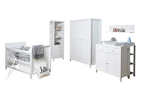 Ticaa Babyzimmer Rosa 4-teilig Massivholz Weiß gewachst