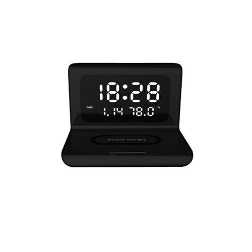 ZLBYB Cargador inalámbrico Reloj Despertador Reloj de Carga inalámbrico Espejo de Temperatura decoración del hogar Tablero de Carga inalámbrico
