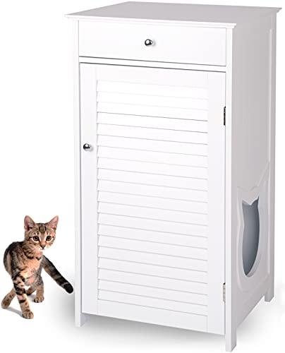 WONDERMAKE Katzenschrank für Katzentoilette groß hoch aus Holz, Katzenklo-Schrank Kommode mit Schublade und Tür geschlossen, Design Katzen-Haus Toilette Klo XL, 51 x 46 x 96 cm, weiß