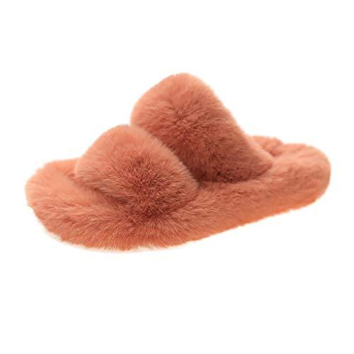 Pantuflas de felpa para mujer, de dos bandas, de forro polar suave, para interiores y exteriores, zapatillas de mujer de suela gruesa, zapatos de otoño e invierno, naranja, 35