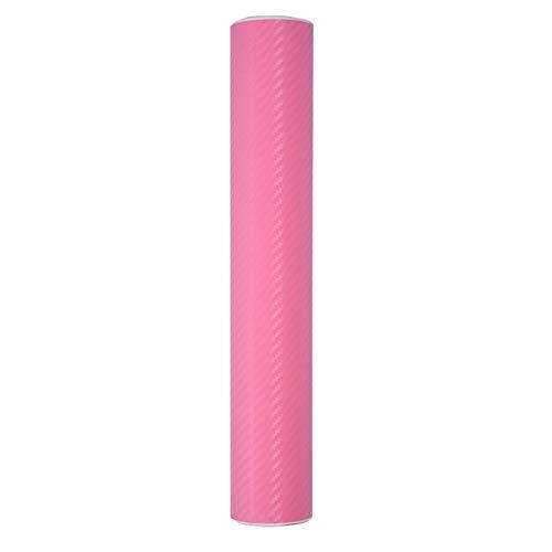 Gesh Rollo de vinilo de fibra de carbono 30 x 200 cm, 3D para coche, color rosa