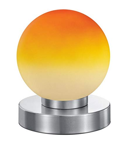 Reality Kugellampe Lampe Tischleuchte Touch Me Dimmer ~ Nickel matt, Glas opal orange