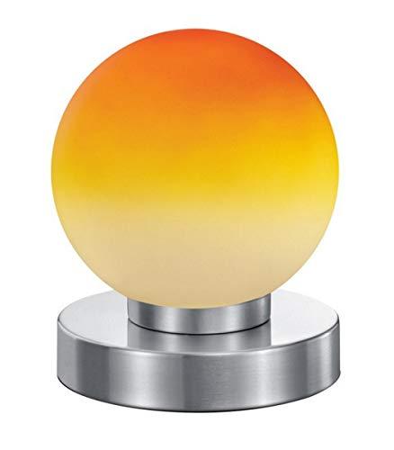 Reality Leuchten Tischleuchte Prinz R5400-18, Metall Nickel matt, Glas orange, E14 exklusive, 4-fach Touch Dimmer