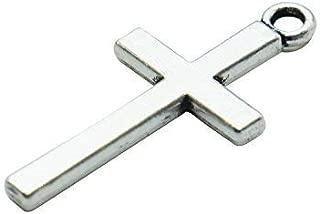 SenseYo 100 PCS Silver Tone Small Cross Pendant Beads Charms