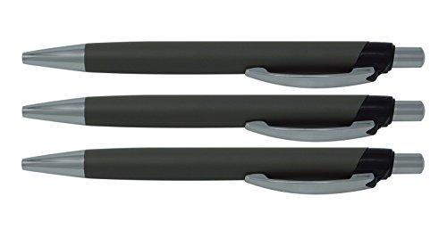 3 allpremio® Kugelschreiber Softtouch Ball SCHWARZ Schreibstift, gummierter Alu Griffzone+ Metall Clip Schreibfarbe Schwarz M Mine dokumentenecht ISO 12757-2 Leichtlauftinte für komfortables Schreiben