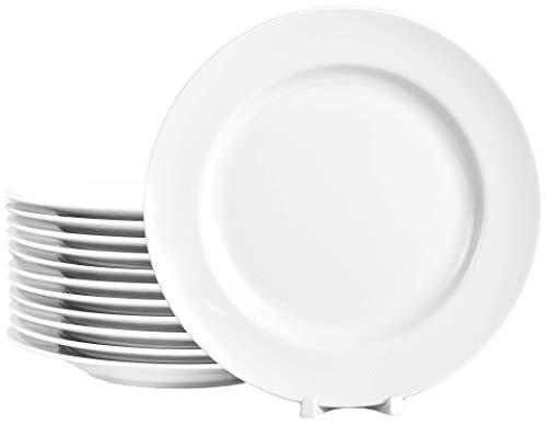 12 Stück Flache Teller im Set aus echtem Porzellan Ø 265 mm weiß auch zum Bemalen bestens geeignet Tafelgeschirr für Gastronomie und Haushalt