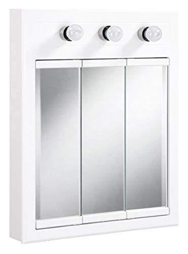 "Design House 532374 Concord Lighted Tri-View Mirrored Medicine Cabinet, White, 24"""