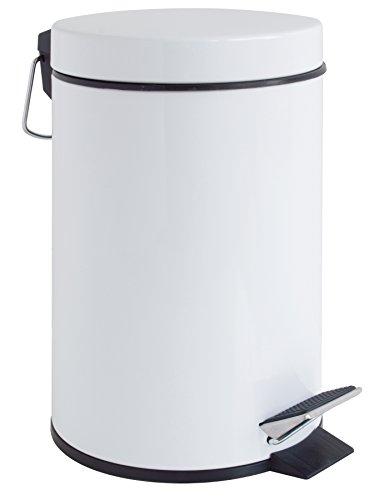 GELCO Design 709129 Poubelle A Pedale 3L, Métal, Blanc, 22,5 x 17 x 26 cm