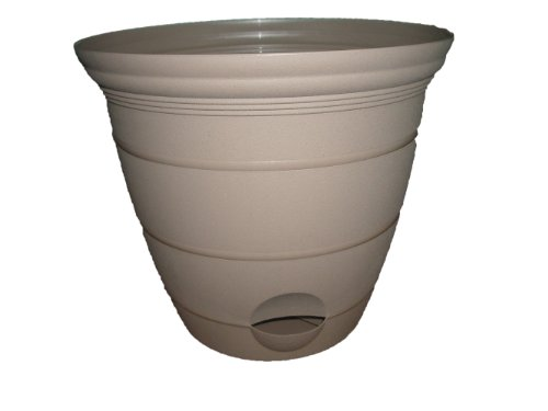 Misco Terra Collection Round Tapered Flared Self-Watering Planter with Ventilated Base, 10-Inch Diameter, Sandalwood