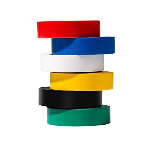 Paquete de 6 colores mezclados con cinta aislante eléctrica Cinta adhesiva adhesiva,...