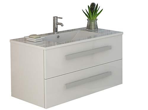 Waschtisch Jet-Line Set Rapperswil III in weiss hochglanz Waschtisch Badmöbel Waschbecken Set Bad Möbel Ausstattung hochglanz weiss
