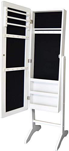 Style home Schmuckschrank Spiegelschrank Standspiegel GanzkÖrperspiegel Schmuckregal Holz Weiß (153 * 35 * 35,5cm)