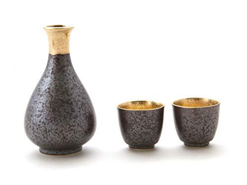 Miyazaki ? Japanische Sake-Set, Sake Karaffe und 2 Sake Becher Shuki, Grau-Schwarz gemuster aus Arita-Porzellan, der Tafelgeschirr Serie Shuki