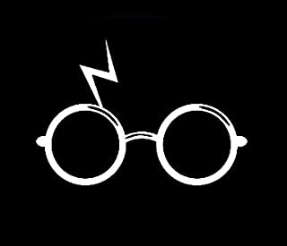 CCI Harry Potter Glasses and Scar Decal Vinyl Sticker Cars Trucks Vans Walls Laptop  White  3.75 x 2.75 in CCI1391