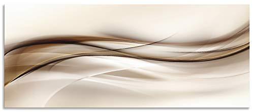 Artland Spritzschutz Küche aus Alu für Herd Spüle 120x50 cm Küchenrückwand mit Motiv Abstrakte Welle Moderne Kunst Abstrakt Kreativ Braun T9LI