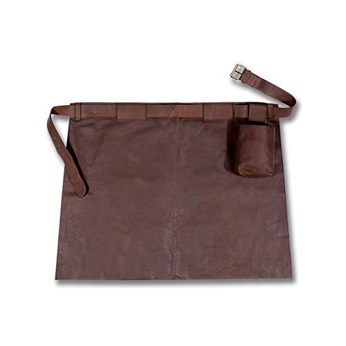 Woodland Leathers Unisex-Schürze, gewachstes Leder, Vordertasche, halblange Länge mit verstellbarem Band, Braun