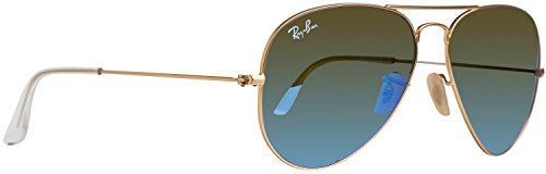 Ray-Ban Unisex Aviator Sonnenbrille, Matte Gold - Cry.Green Mirror Multil.Blue (112/17), 58 mm