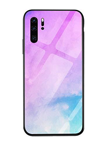 Oihxse Colorido Gradual Cristal Estilo Case Compatible con Huawei Nova 5 Funda Vidrio Templado Trasera Carcasa Borde de Silicona Suave Protectora Ultra Fino Anti-arañazos
