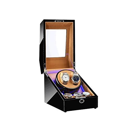 LUYJKL Reloj automático devanadera 3+2 cajas con luz motor silencioso para relojes pantalla para hombres y mujeres regalo adaptador de CA y batería