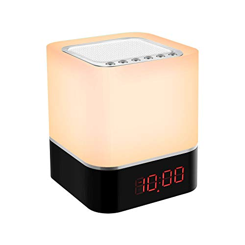 Nachttischlampe Touch dimmbar, Nachtlicht mit Wecker, Bluetooth Lautsprecher Lampe, MP3 Player, 7 RGB Farben ändern Atmosphären stimmungslicht für Kinder und Erwachsene