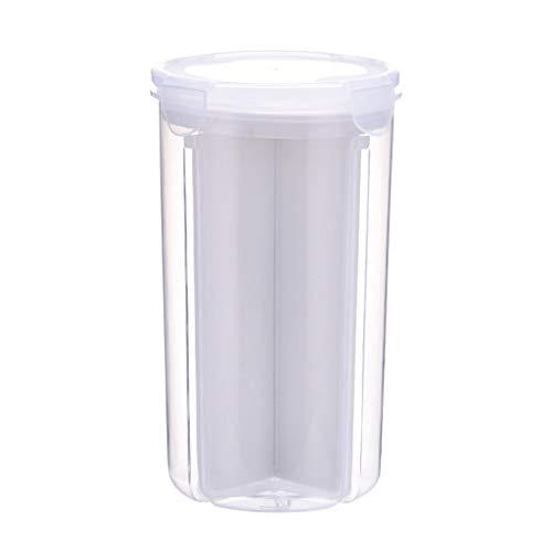Vorratsdosen Müslibehälter Schüttdose Streudosen Haushaltsdosen 2/4 Abschnitt Partition BPA frei Kunststoff Vorratsdosen luftdicht für Cornflakes, Getreide, Reis, Zucker usw (L, Weiß)