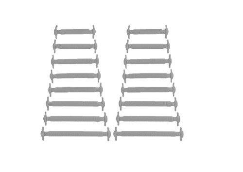 Kuyia sans Cravate Silicone Mode Lacets pour enfants et adultes imperméable facile à nettoyer élastique plat Athletic Running Chaussures de sport en dentelle, Adult grey