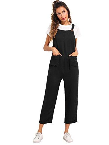 Verdusa Women's Sleeveless Straps Pockets Plaid Culotte Jumpsuit Overalls Black M