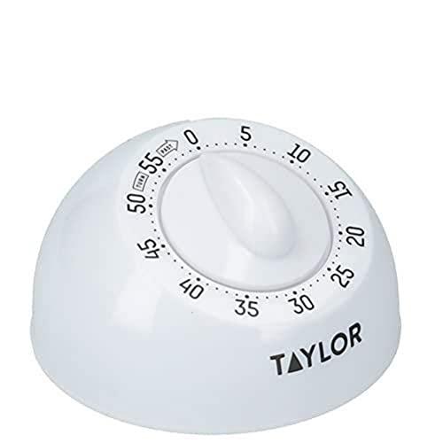 Taylor Timer da Cucina, Timer da Cucina Meccanico Classico, con Rotazione, Conto alla Rovescia e Suono di Allarme, Ideale per la Cottura al Forno, 60 Minuti, Bianco