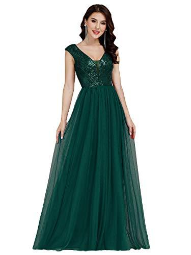 Ever-Pretty Damen Abendkleid A-Linie Pailletten Tüll V Ausschnitt Ärmellos lang Dunkelgrün 42