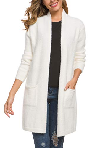 QIXING Women's Casual Open Front Knit Cardigans Long Sleeve Plush Sweater Coat with Pockets White-XL