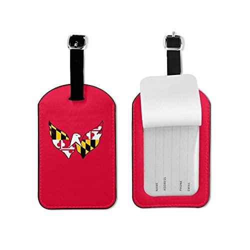 Maryland - Etiqueta para equipaje con nombre y tarjeta de identificación, color seguro y colorido para maleta de viaje, etiquetas de microfibra de piel sintética de 2.7 x 4.3 pulgadas