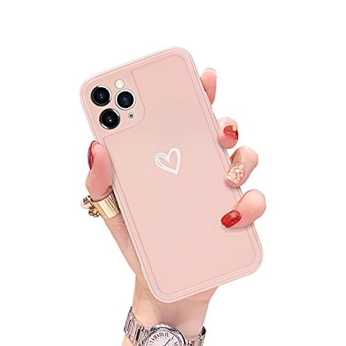 Newseego Funda Compatible con iPhone 11 Pro, Carcasa Protectora con Parachoques de TPU Suave para iPhone 11 Pro Delgada Funda Love Heart Antichoques Silicona Case de Telefono para iPhone 11 Pro-Rosa